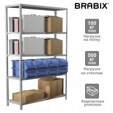 Стеллаж металлический BRABIX MS KD-200/60-5, 2000х1000х600 мм, 5 полок, сборная стойка, 291121, S240BR246502