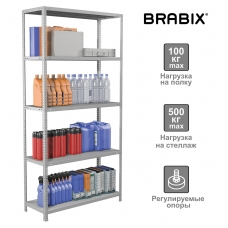 Стеллаж металлический BRABIX MS Plus-200/40-5, 2000х1000х400 мм, 5 полок, регулируемые опоры, 291109, S241BR164502