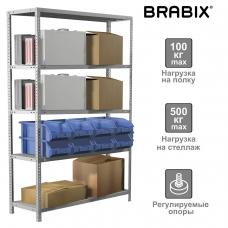 Стеллаж металлический BRABIX MS Plus-200/50-5, 2000х1000х500 мм, 5 полок, регулируемые опоры, 291110, S241BR165502