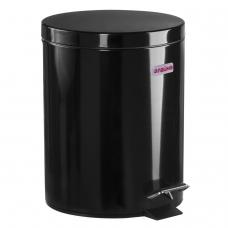 Ведро-контейнер для мусора урна с педалью ЛАЙМА Classic, 5 л, черное, глянцевое, металл, со съемным внутренним ведром, 604943