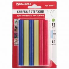 Клеевые стержни, диаметр 11 мм, длина 100 мм, цветные ассорти, КОМПЛЕКТ 12 штук, 6 цветов, BRAUBERG, блистер, 670317