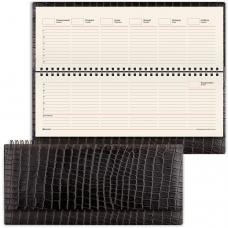 Планинг настольный BRAUBERG недатированный, 305х140 мм, Alligator, под матовую крок. кожу, 60 л., черный, кремовый блок, 125881