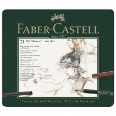 Набор художественный FABER-CASTELL Pitt Monochrome, 21 предмет, металлическая коробка, 112976