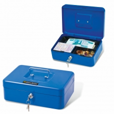 Ящик для денег, ценностей, документов, печатей, 90х180х250 мм, ключевой замок, синий, BRAUBERG, 290335