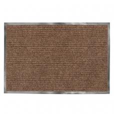Коврик входной ворсовый влаго-грязезащитный ЛАЙМА, 90х120 см, ребристый, толщина 7 мм, коричневый, 602873