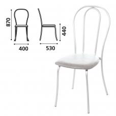 Стул для столовых, кафе, дома Вереск, белый каркас, кожзам светло-серый, СМ7/6-05 К-05