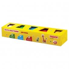 Пластилин на растительной основе тесто для лепки ПИФАГОР, 5 цветов, 450 г, картонный рукав, 104438
