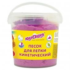 Песок для лепки кинетический ЮНЛАНДИЯ, розовый, 500 г, 2 формочки, ведерко