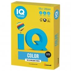 Бумага IQ color, А4, 120 г/м2, 250 л., интенсив, ярко-желтая, IG50