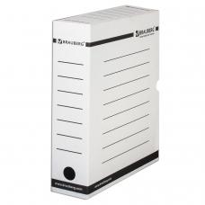 Короб архивный с клапаном, микрогофрокартон, 75 мм, до 700 листов, плотный, белый, BRAUBERG, 121485