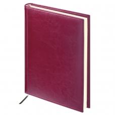 Ежедневник BRAUBERG недатированный, А5, 138х213 мм, Imperial, под гладкую кожу, 160 л., бордовый, кремовый блок, 123415