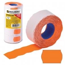 Этикет-лента 26х16 мм, волна, оранжевая, комплект 5 рулонов по 800 шт., BRAUBERG, 123582