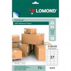 Этикетка самоклеящаяся 70х32 мм, 27 этикеток, белая, 70 г/м2, 50 л., LOMOND, 2100185