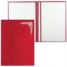 Папка адресная, бархатная красная, без надписи, Виньетка, формат А4, в индивидуальной упаковке, АП4-фк-047