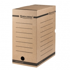 Короб архивный с клапаном, микрогофрокартон, 150 мм, до 1400 листов, плотный, бурый, BRAUBERG, 124849