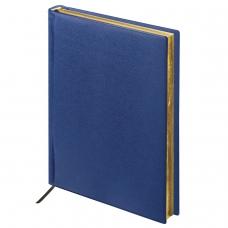 Ежедневник BRAUBERG недатированный, А5, 138х213 мм, Iguana, под зернистую кожу, 160 л., темно-синий, кремовый блок, золотой срез, 125091