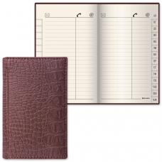 Телефонная книжка А7, 80х130 мм, 56 л., BRAUBERG, вырубной алфавит, Cayman, под крокодиловую кожу, коричневая, 125135