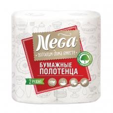 Полотенца бумажные бытовые, спайка 2 штуки, 2-х слойные 2х13,2 м, NEGA Нега, белые
