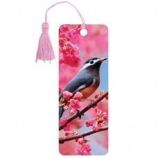 Закладка для книг 3D, BRAUBERG, объемная, Птичка на ветке, с декоративным шнурком-завязкой, 125773
