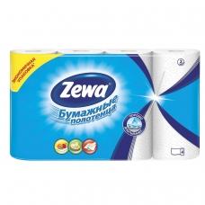 Полотенца бумажные бытовые, спайка 4 шт., 2-х слойные, 4х14 м, ZEWA, белые, 144099