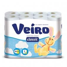 Бумага туалетная бытовая, спайка 24 шт., 2-х слойная 24х17,5 м, VEIRO Classic, белая, 5с224