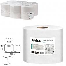 Полотенца бумажные с центральной вытяжкой VEIRO Professional Система M2, комплект 6 шт., Basic, 300 м, белые, KP105