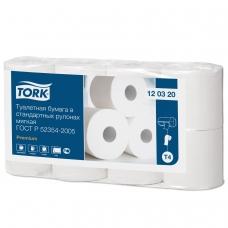 Бумага туалетная TORK Система Т4, 2-слойная, спайка 8 шт. х 23 м, Premium, 120320