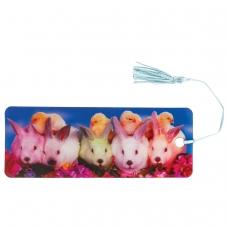 Закладка для книг с линейкой, 3D-объемная, BRAUBERG Кролики и цыплята, с декоративным шнурком, 128097