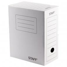 Короб архивный с клапаном, микрогофрокартон, 150 мм, до 1400 листов, белый, STAFF, 128866