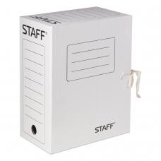 Папка архивная с завязками, микрогофрокартон, 150 мм, до 1400 листов, белая, STAFF, 128875