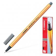 Ручка капиллярная STABILO Point 88, ТЕМНО-СЕРАЯ, корпус оранжевый, линия письма 0,4 мм, 88/96