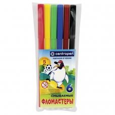 Фломастеры CENTROPEN, 6 цветов, Пингвины, смываемые, вентилируемый колпачок, полибег, 7790/6