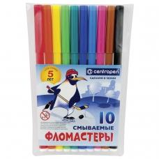 Фломастеры CENTROPEN, 10 цветов, Пингвины, смываемые, вентилируемый колпачок, полибег, 7790/10