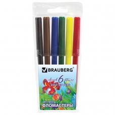 Фломастеры BRAUBERG Wonderful butterfly, 6 цветов, вентилируемый колпачок, пластиковая упаковка, увеличенный срок службы, 150521