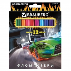 Фломастеры BRAUBERG InstaRacing, 12 цветов, вентилируемый колпачок, карт. упаковка, выборочный лак, увел. срок службы, 150548