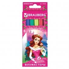 Фломастеры BRAUBERG Rose Angel, 6 цветов, вентилируемый колпачок, картонная упаковка, увеличенный срок службы, 150555