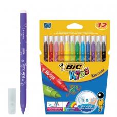 Фломастеры BIC Kid Couleur, 12 цвета, суперсмываемые, вентилируемый колпачок, европодвес, 841798