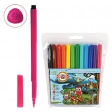 Фломастеры KOH-I-NOOR Совы, 12 цветов, смываемые, трехгранные, пластиковая упаковка, европодвес, 771012AB01TE
