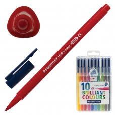 Фломастеры STAEDTLER Triplus, 10 цветов, трехгранные, пластиковый футляр, 323 SB10