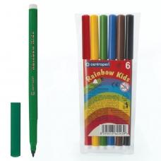 Фломастеры CENTROPEN Rainbow Kids, 6 цветов, смываемые, эргономичные, вентилируемый колпачок, 7550/06