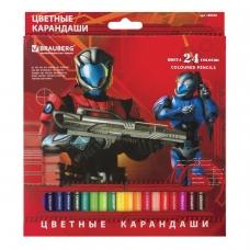 Карандаши цветные BRAUBERG Star Patrol, 24 цвета, заточенные, картонная упаковка, 180558