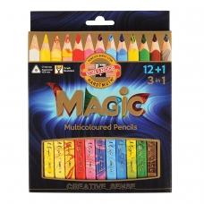 Карандаши с многоцветным грифелем KOH-I-NOOR, набор 13 шт., Magic, трехгранные, грифель 5,6 мм, европодвес, 3408013001KS