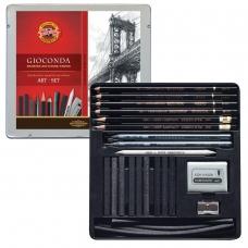 Набор художественный KOH-I-NOOR Gioconda, 23 предмета, металлическая коробка, 8898000001PL