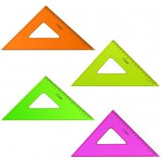 Треугольник пластиковый, угол 45х16 см, СТАММ Neon Crystal, тонированный, прозрачный, неоновый, ассорти, ТК57
