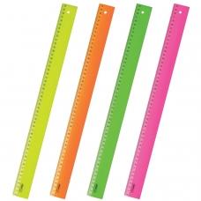 Линейка пластиковая 50 см, СТАММ Neon, непрозрачная, неоновая, ассорти, ЛН93