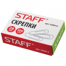 Скрепки STAFF, 28 мм, металлические, 100 шт., в картонной коробке, 220012