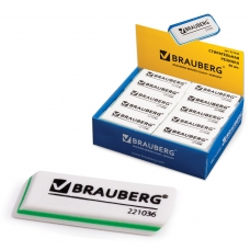 Резинка стирательная BRAUBERG Partner, 57х18х8 мм, трёхслойная, белая, в картонном дисплее, 221036
