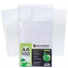 Папки-файлы перфорированные, А4, BRAUBERG, комплект 100 шт., гладкие, Яблоко, 35 мкм, 221710