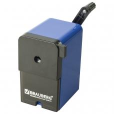 Точилка механическая BRAUBERG RoboBlue, металлический механизм, чёрный/синий, 222515