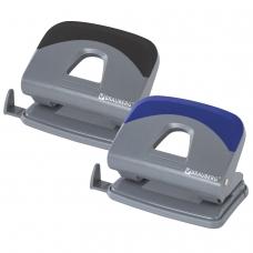 Дырокол BRAUBERG Quantis, средний, на 20 листов, темно-серый, вставка ассорти синий, черный, 222555